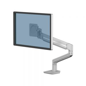 Tallo™ Single Monitor Arm - Silver - shown with a monitor