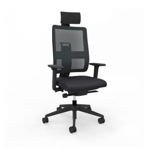 Toleo Mesh Back Black Office Chair - front view with armrests, headrest and black mesh back