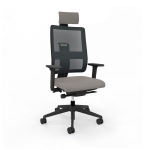 Toleo Mesh Back Grey Office Chair - front view with armrests, headrest and black mesh back