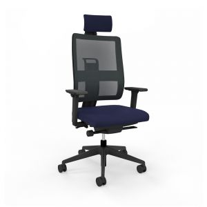 Toleo Mesh Back Navy Office Chair - front view with armrests, headrest and black mesh back