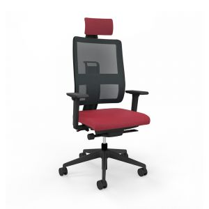 Toleo Mesh Back Red Office Chair - front view with armrests, headrest and black mesh back