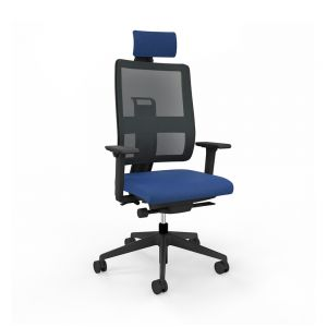 Toleo Mesh Back Royal Blue Office Chair - front view with armrests, headrest and black mesh back