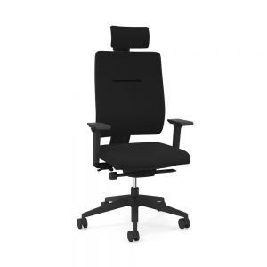 Toleo Upholstered Back Black Office Chair - front view with armrests, headrest and polished aluminium base