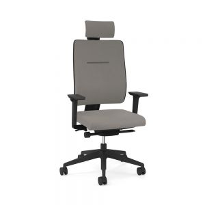 Toleo Upholstered Back Grey Office Chair - front view with armrests, headrest and polished aluminium base