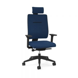 Toleo Upholstered Back Navy Office Chair - front view with armrests, headrest and polished aluminium base