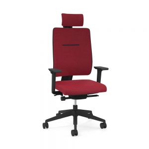 Toleo Upholstered Back Red Office Chair - front view with armrests, headrest and polished aluminium base