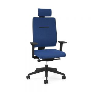Toleo Upholstered Back Royal Blue Office Chair - front view with armrests and headrest