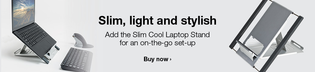 Add the Slim Cool Laptop Stand for an on-the-go set-up