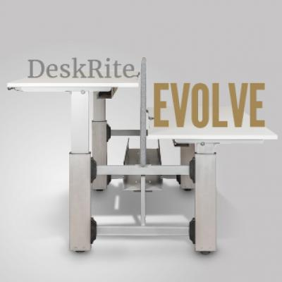 Due out this summer! DeskRite Evolve – our new sit-stand bench desking system