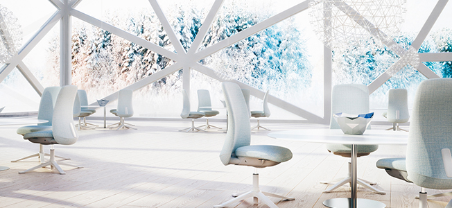 Large office space showing chairs around circular desks, with a winter scene outside