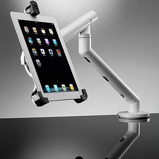 Tablet stand holding an iPad