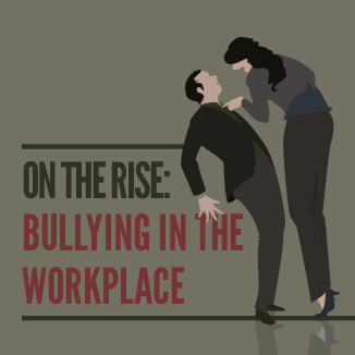 image of a tall person towering over and bullying a colleague