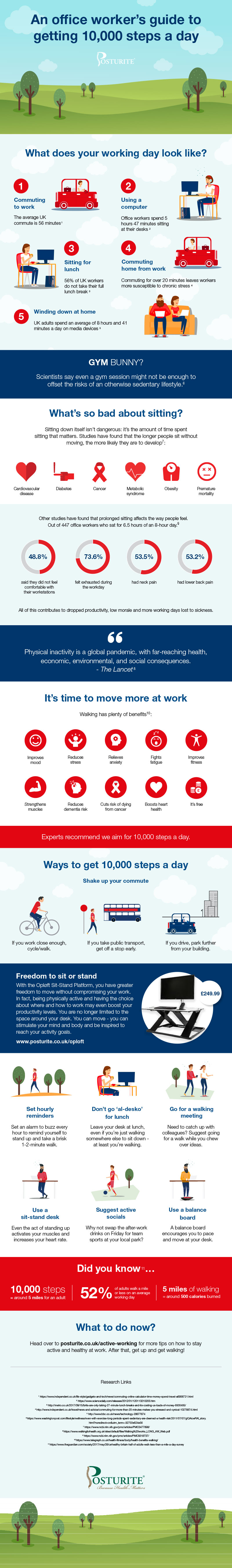 How to get 10,000 steps a day - infographic