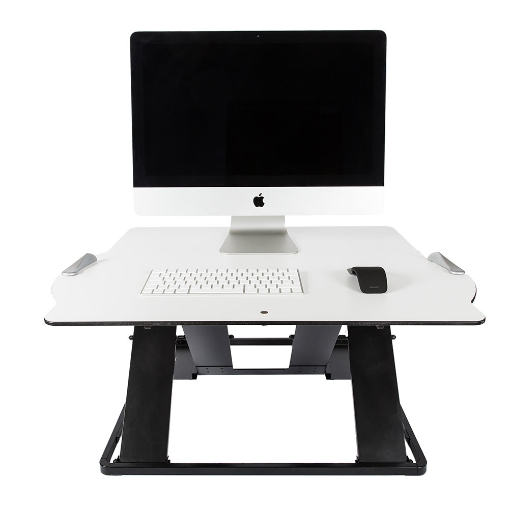 Posturite Oploft front view, with Apple Mac on top.