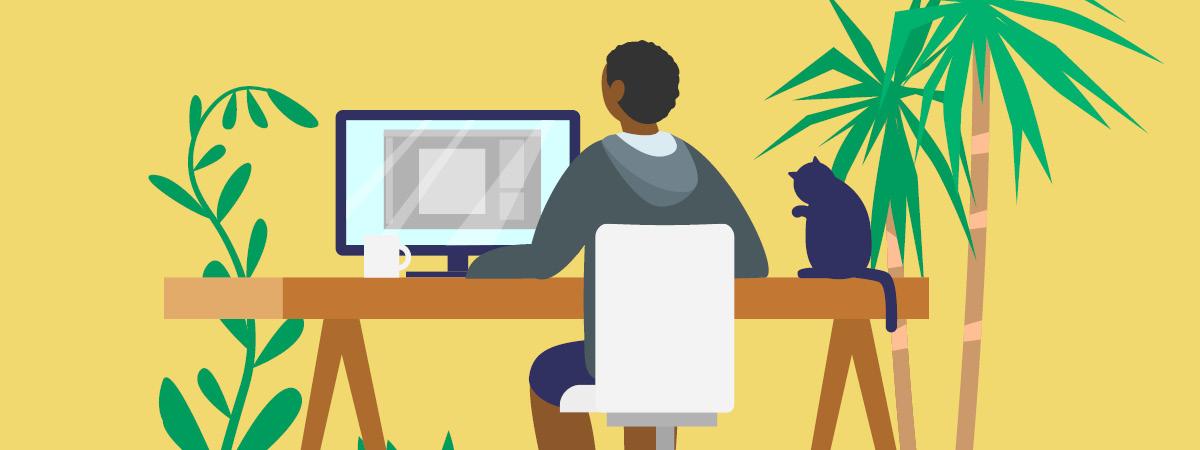 Illustration showing a homeworker sitting at their desk