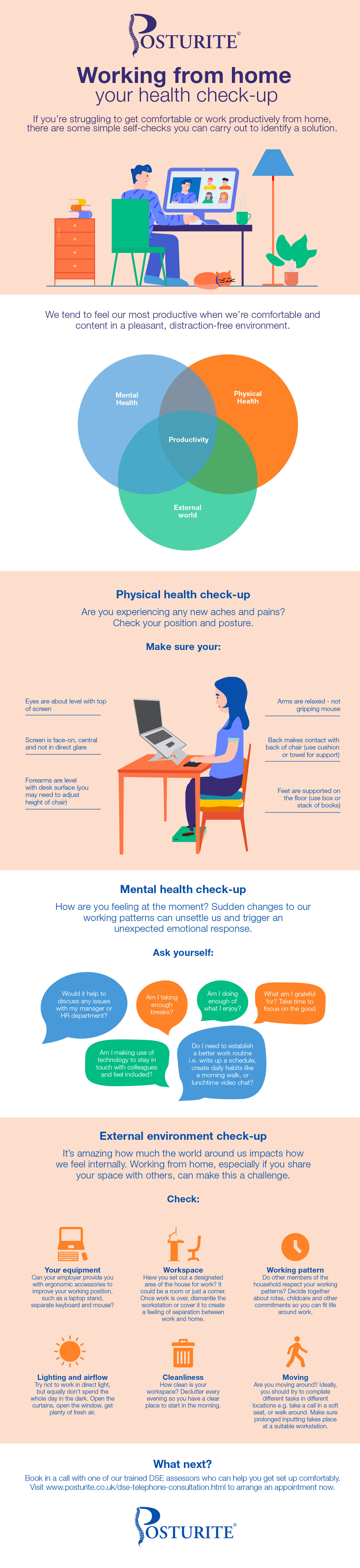 'Working from home - your health check up' infographic, which links to the downloadable PDF