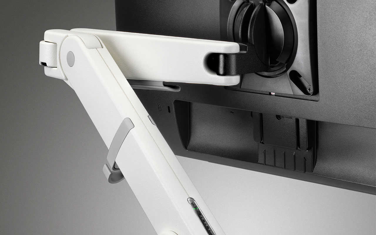 Close-up of monitor arm