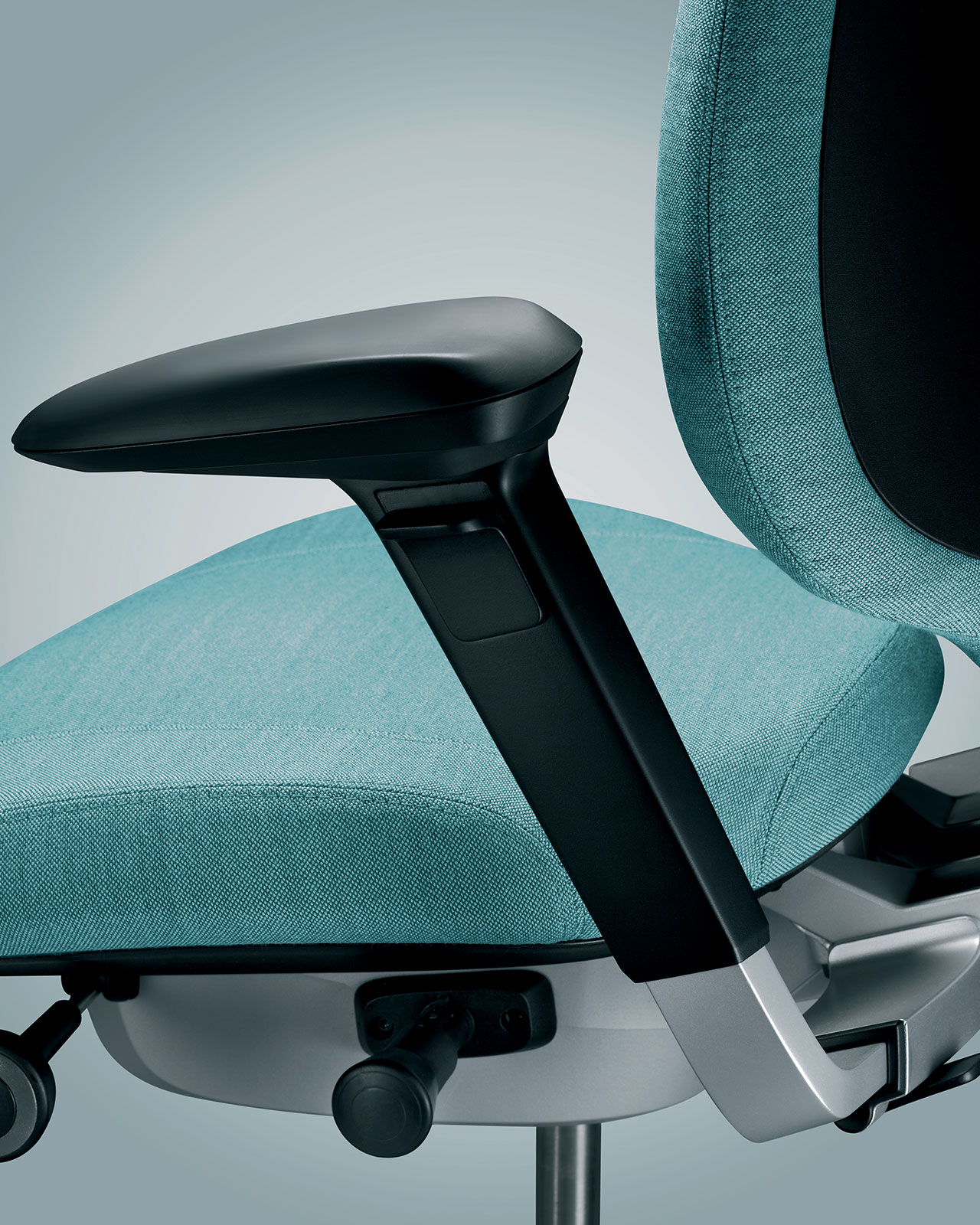 Close-up of ergonomic chair