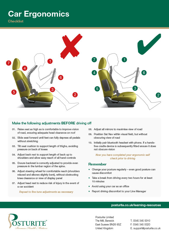 Car ergonomics checklist
