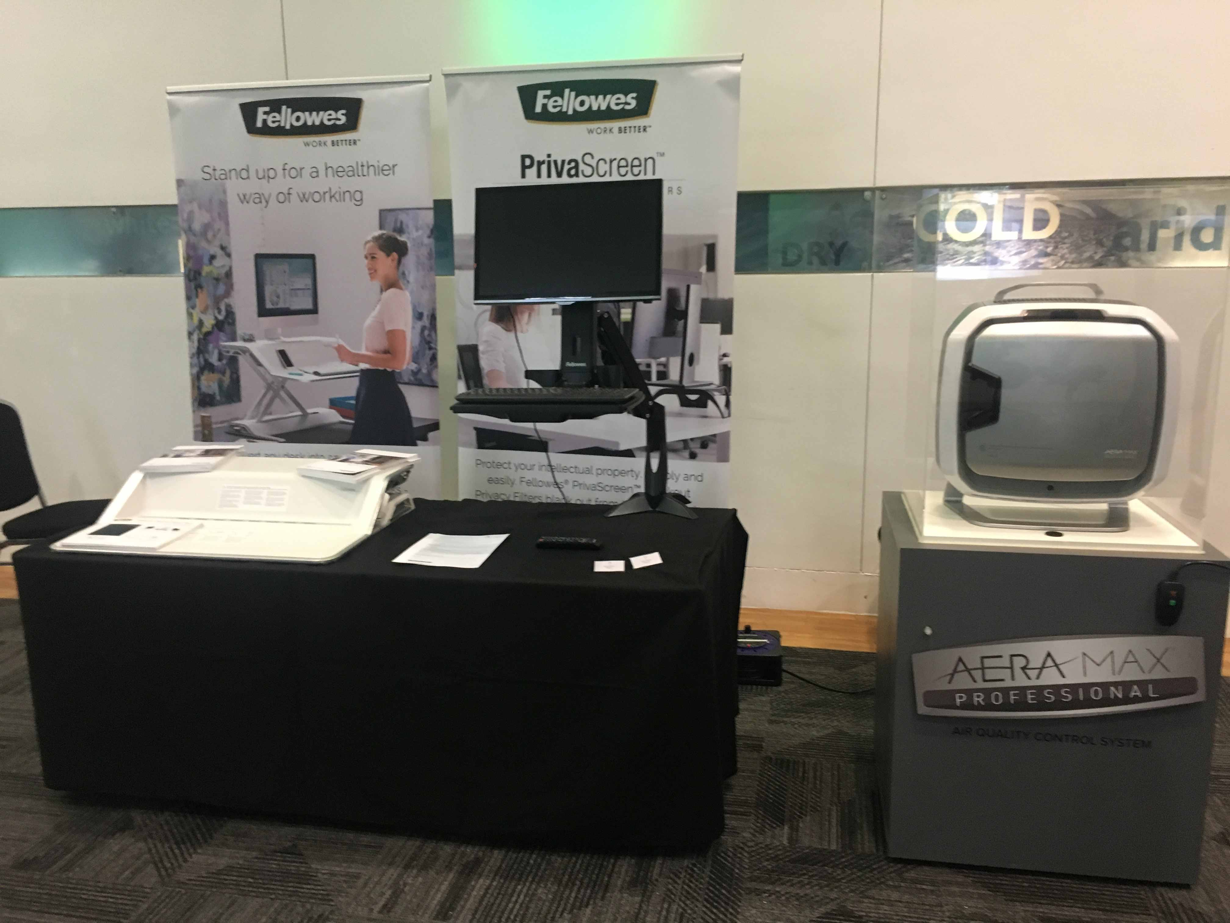 An exhibition stand showing Fellowes products