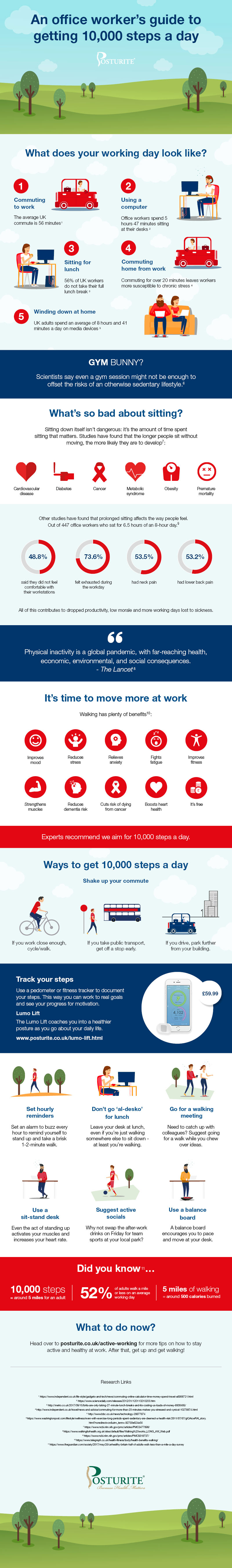 Download our 'An office worker's guide togetting 10,000 steps a day' infographic