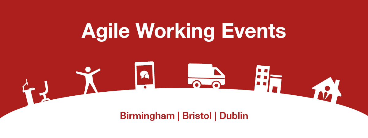 Banner with the wording: Agile Working events in Birmingham, Bristol and Dublin