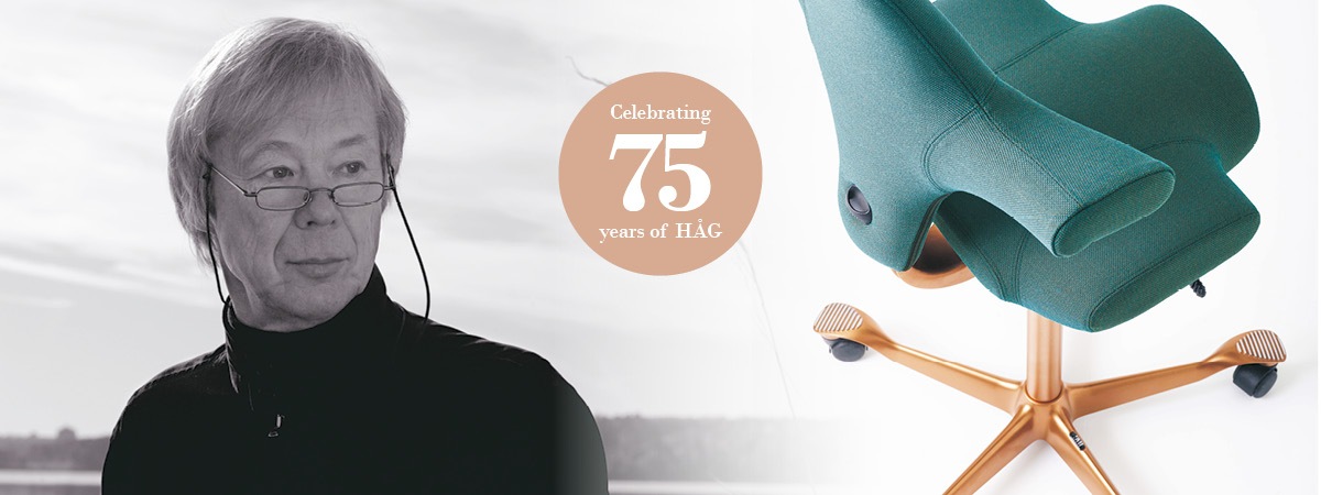 Peter Opsvik with the HAG Capisco chair he designed, and a stamp reading '75 years of HAG'
