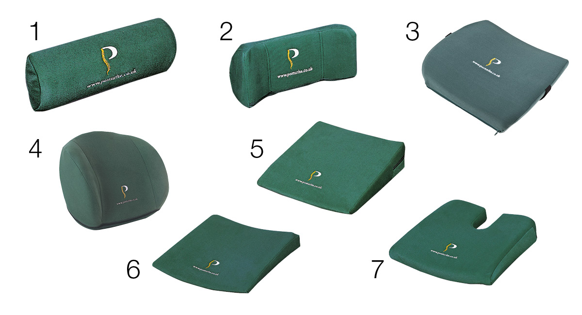 Selection of lumbar rolls, back supports and wedges